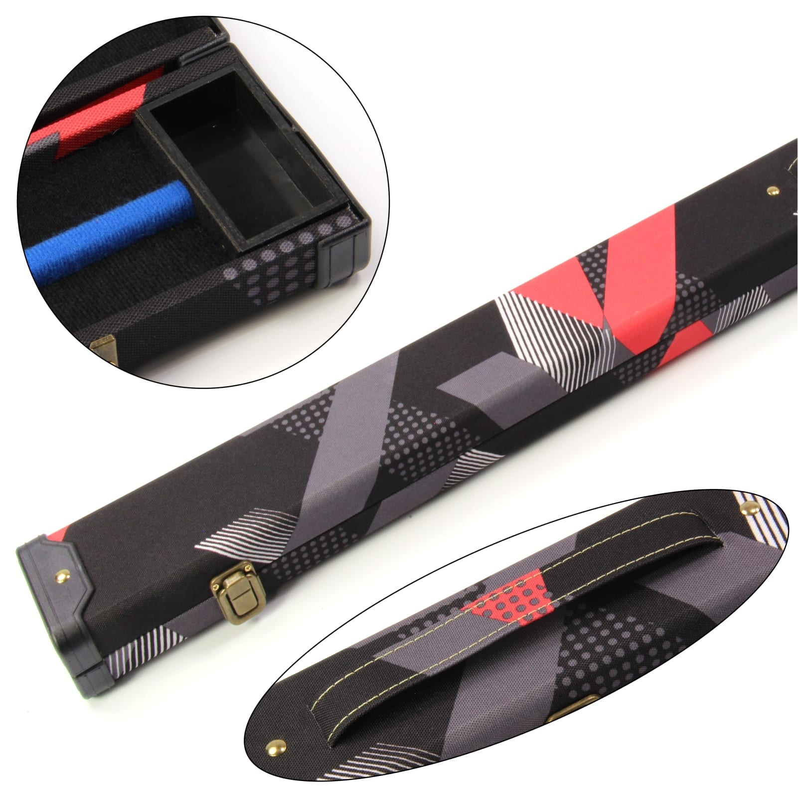 2 Cue 80s RED & BLACK 1PC Pool Snooker Cue Case - Holds 2 Cues